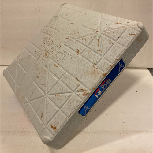 Photo of 2018 NLDS Game Used Base - First Base Used During 7th Inning - 10/8/18 - Dodgers Clinch