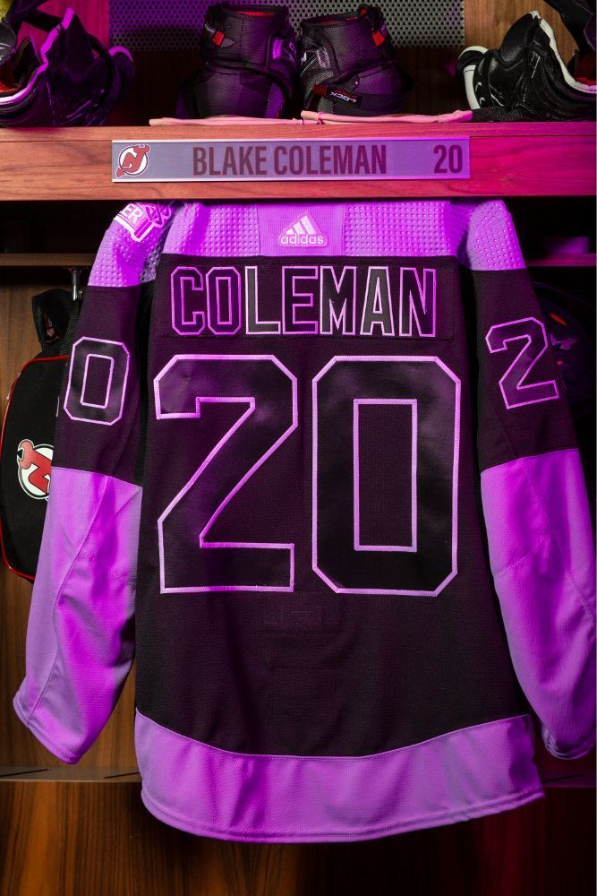 Blake Coleman Hockey Fights Cancer Autographed Black and Lavender Warm-Up Jersey - New Jersey Devils