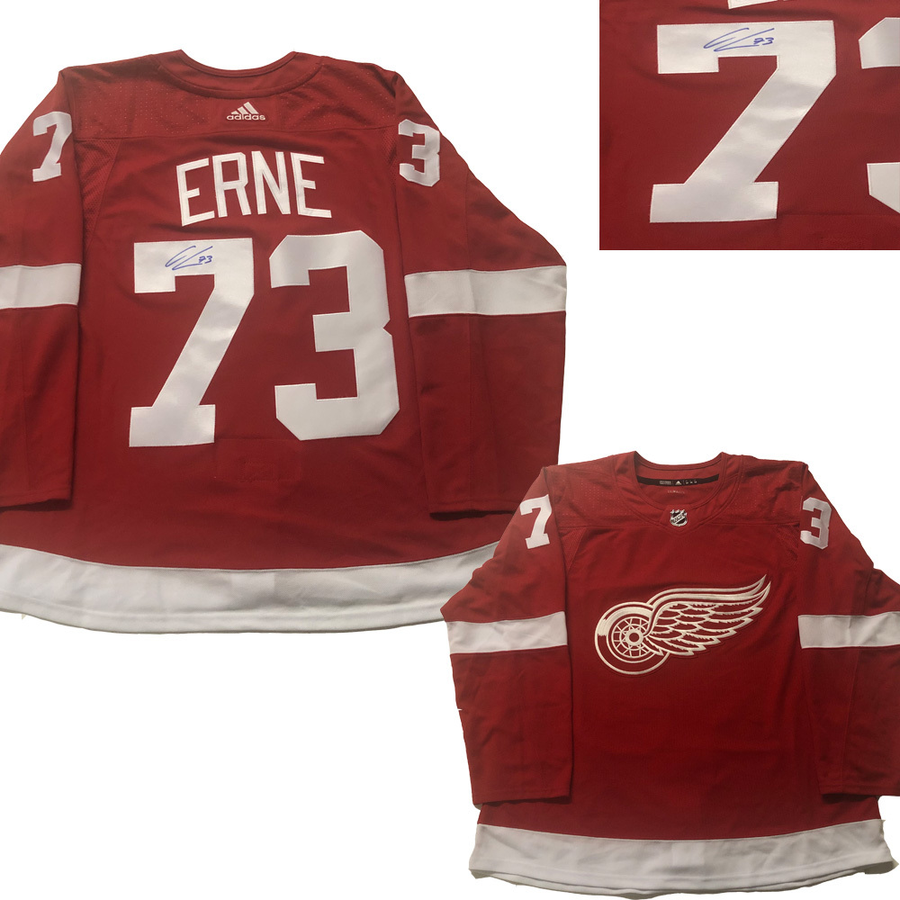 ADAM ERNE Signed Detroit Red Wings Red Adidas PRO red Jersey