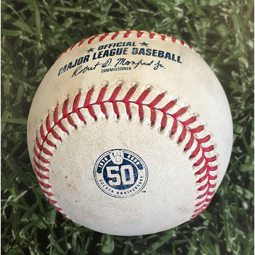 Photo of Game-Used Baseball CIN@MIL 08/08/20 - Corbin Burnes - Nick Castellanos: Strikeout