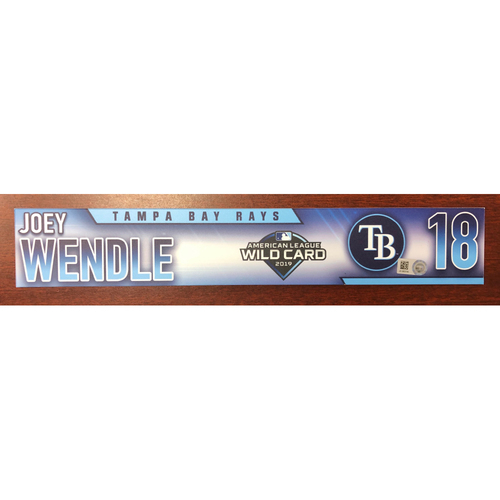 Photo of Game Used Wild Card Locker Tag: Joey Wendle - First Career Postseason Game - Pitch Hitter Played 3B - October 2, 2019 at OAK