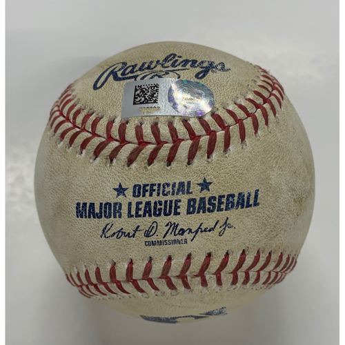 Game Used Baseball - 8/5/20 - Batter: Francisco Lindor, Pitcher: Michael Lorenzen - Single to Left