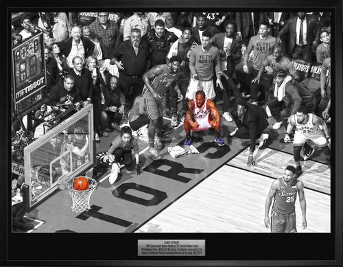 "Kawhi Leonard Unsigned ""The Shot"" 20x29 Canvas Framed"