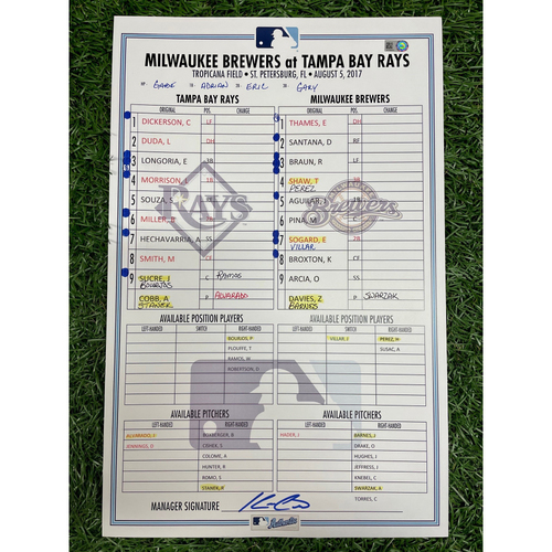 Photo of Game Used Lineup Card: Zach Davies (W, 7.0IP, 2 SO) & Anthony Swarzak (S, 1.0IP, 2 SO) - Hernan Perez (12) Home Run - August 5, 2017 v MIL