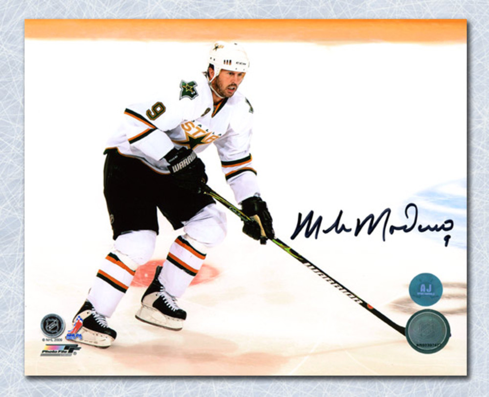 Mike Modano Dallas Stars Autographed White Jersey Action 8x10 Photo