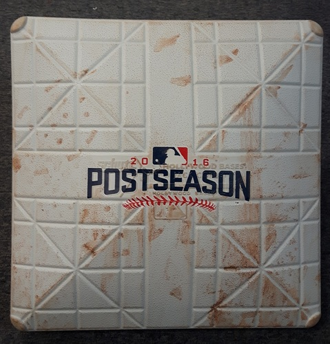 Photo of Authenticated Game Used Base - ALCS Game 5 vs CLE (Oct 19, 2016): 3rd Base for Innings 1 to 3. Cleveland won to advance to the World Series.