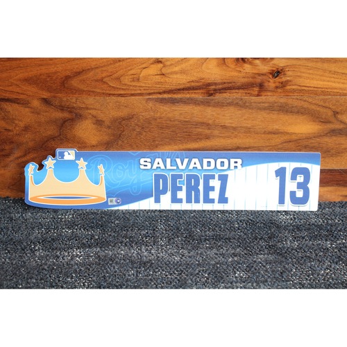 Game-Used Locker Name Plate: Salvador Perez