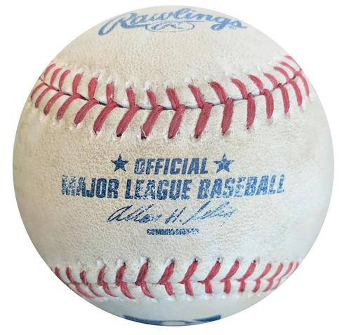 Photo of Game-Used Baseball from Pirates vs. Brewers on 4/19/14 - Ike Davis Double