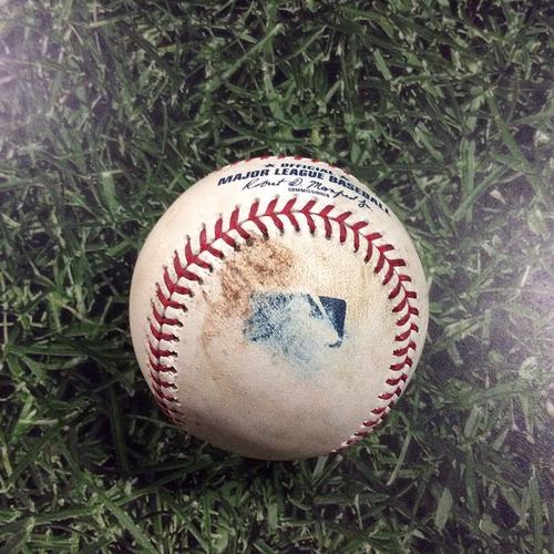 Photo of Game-Used Baseball ARI@MIL  05/22/18 - Yoshihisa Hirano - Orlando Arcia: Strikeout