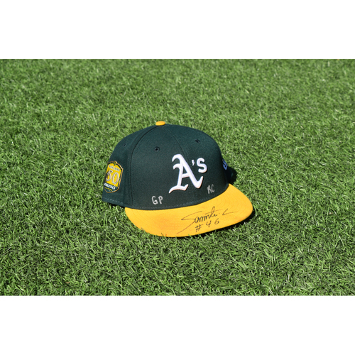 Photo of Oakland Athletics Game Used Autographed Santiago Casilla 50th Anniversary Cap