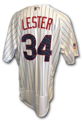 Photo of Jon Lester Stars and Stripes Game-Used Jersey -- Tigers vs. Cubs -- 7/4/18