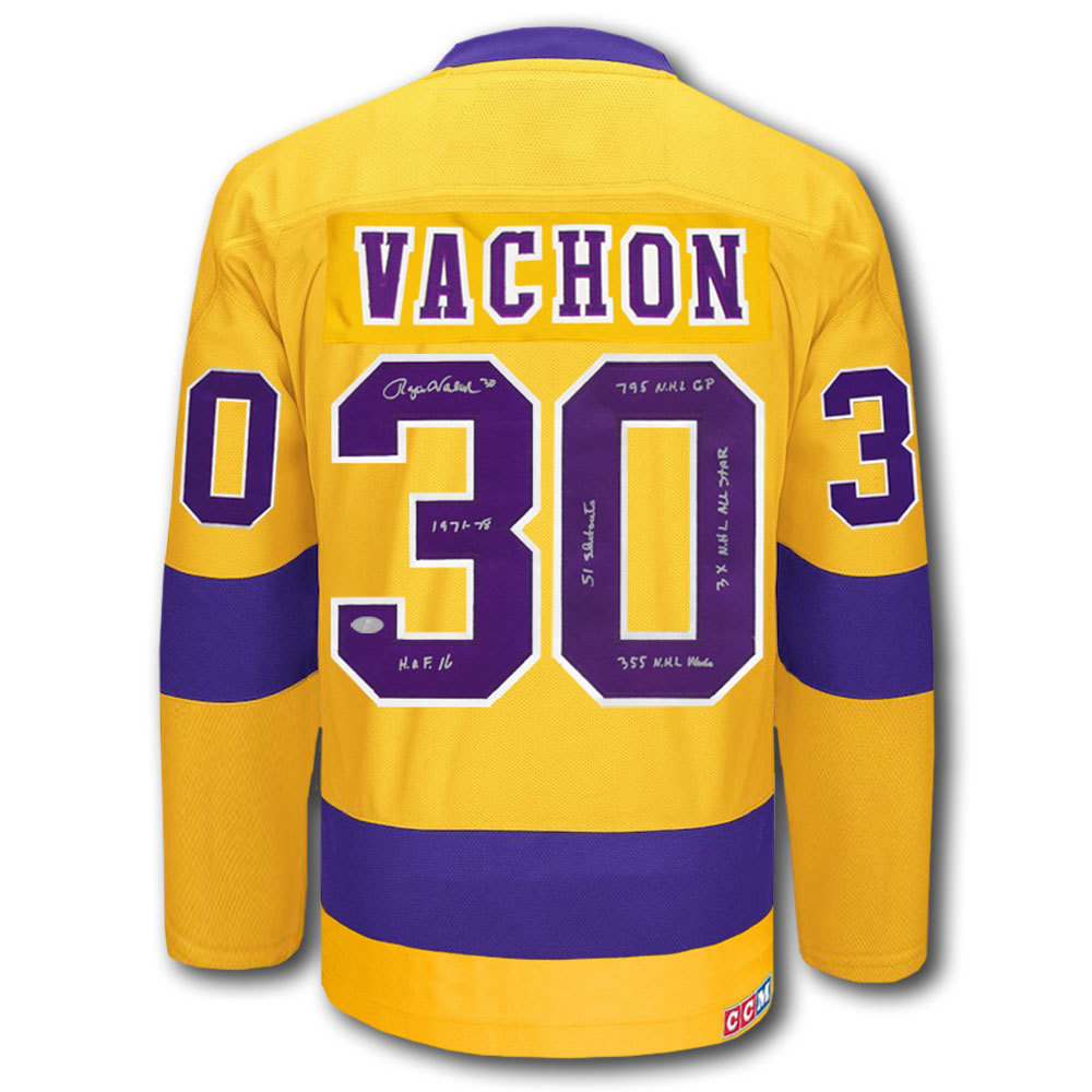 Rogie Vachon Los Angeles Kings STATS CCM HOME Autographed Jersey