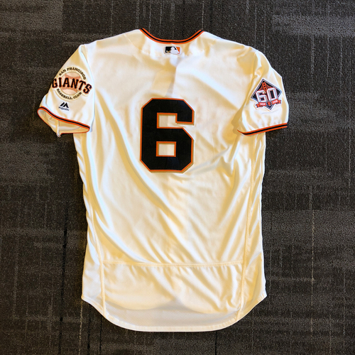 Photo of San Francisco Giants - 2018 Game Used Home Crème Jersey - Steven Duggar - Authenticated for 1st Career RBI and his 2nd Career HR - Size 44