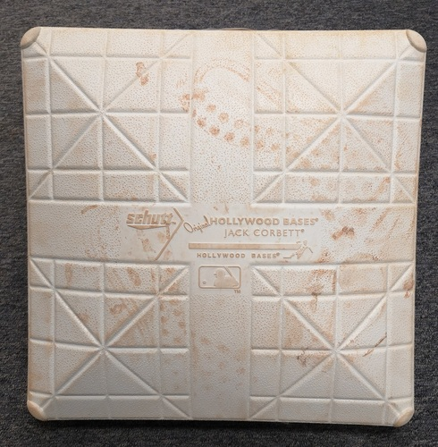 Photo of Authenticated Game Used Base - 1st MLB Home Run for Lourdes Gurriel Jr. (April 28, 2018 vs Texas Rangers). 2nd Base for Innings 7 to 9.