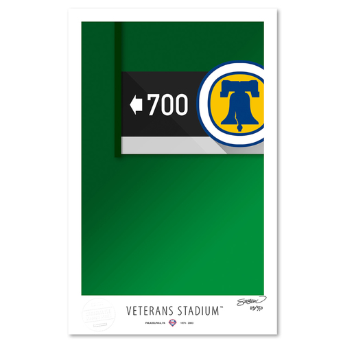 Photo of Veterans Stadium - Collector's Edition Minimalist Art Print by S. Preston #119/350  - Philadelphia Phillies