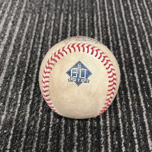 Photo of 2018 Game Used Baseball vs. Washington Nationals on 4/23 - T-6: Chris Stratton to Howie Kendrick - Strikeout Swinging