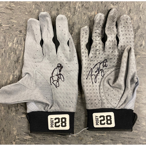 Photo of 2019 Holiday Sale - 2019 Autographed Batting Gloves signed by #28 Buster Posey - Gray & Black Marucci Batting Gloves