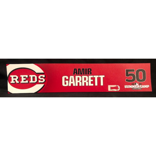 Photo of Amir Garrett -- 2020 Sumer Camp Locker Tag -- Team-Issued