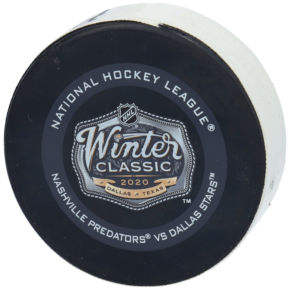 Dallas Stars vs. Nashville Predators Game-Used Puck from the 2020 NHL Winter Classic on January 1, 2020 - Used During the First Period