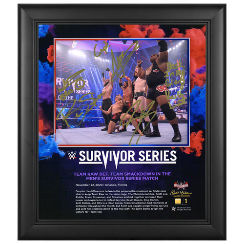 Photo of Men's Team Raw SIGNED Survivor Series 2020 WrestleMania Gold Edition Plaque (#1 of 1)