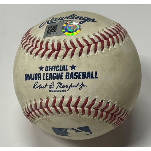 Photo of Game Used Baseball - Brad Keller Pitches to Daniel Johnson - Single - Royals at Indians 7/9/2021