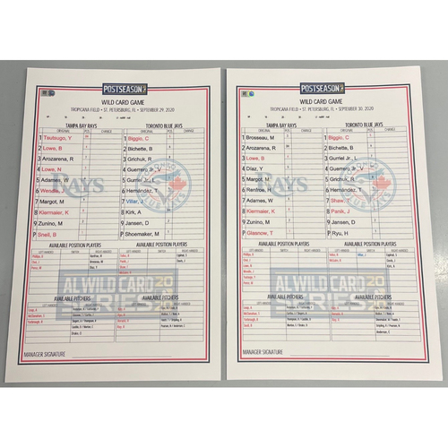 Photo of Replica ALWCS Lineup Card Package: Game #1 and #2 - First Ever Wild Card Series at Tropicana Field - September 29-30, 2020 v TOR