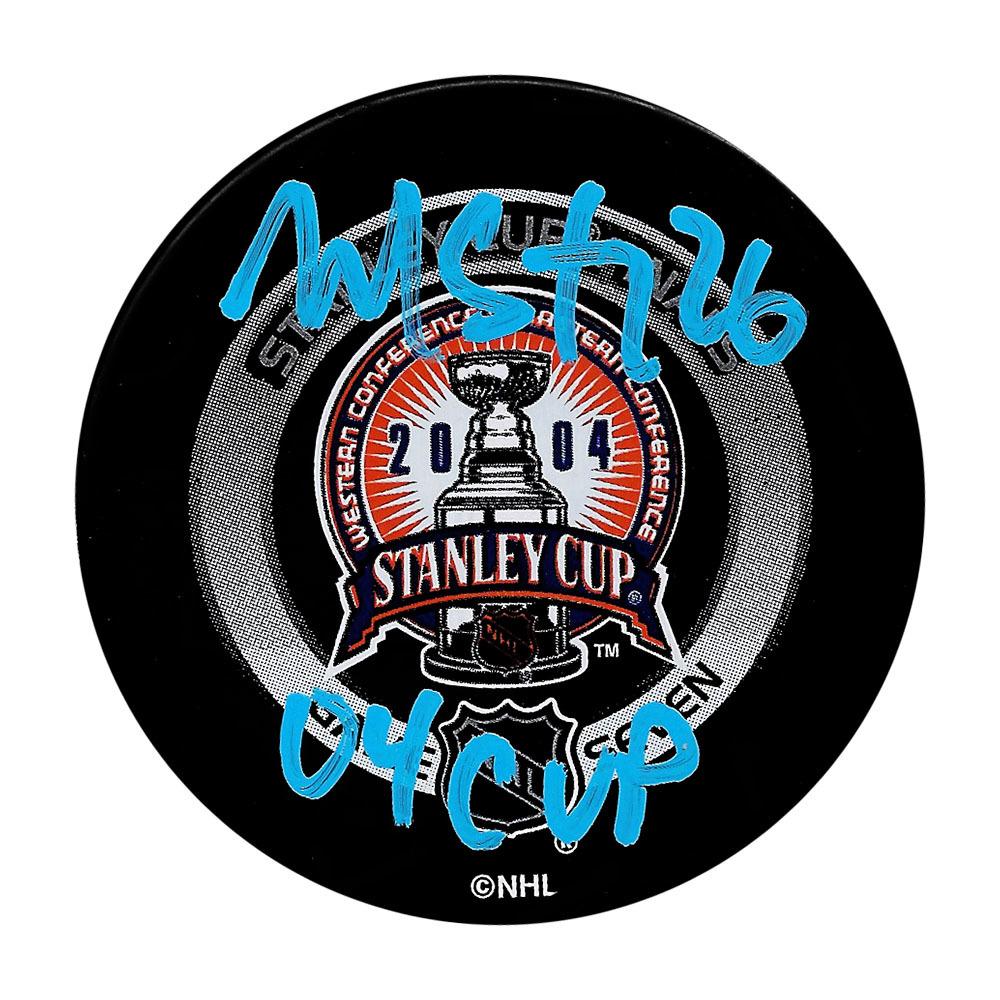 Martin St. Louis Autographed 2004 Stanley Cup Final Official Game Seven Puck w/04 CUP Inscription