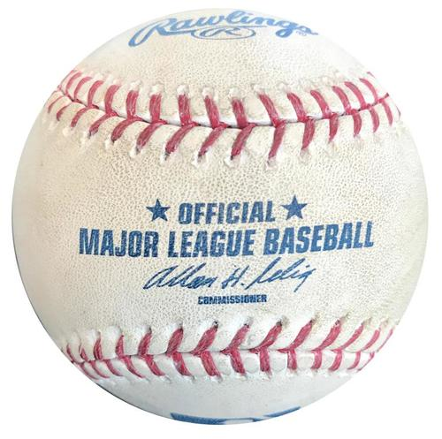Photo of Game-Used Baseball from Pirates vs. Brewers on 4/19/14 - Clint Barmes 2 RBI Double