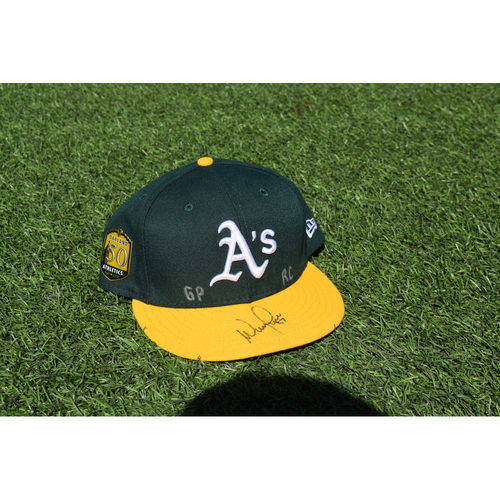 Photo of Oakland Athletics Game Used Autographed Wilmer Font 50th Anniversary Cap