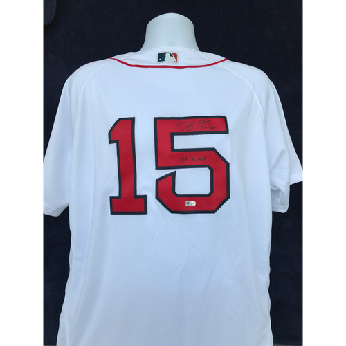"Photo of Mauer & Friends Kids Classic Charity Auction: Dustin Pedroia Autographed Jersey Inscribed ""08 AL MVP"""
