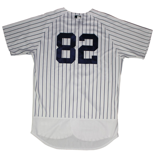 Photo of Chance Adams New York Yankees 2018 Spring Training Opening Day Home Game Used #82 Pinstripe Jersey (2/23/2018)