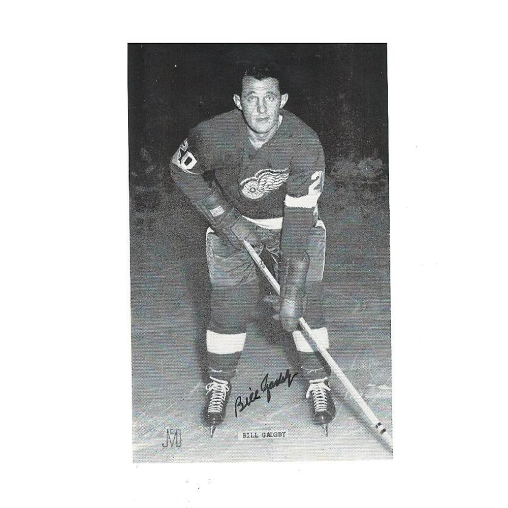 BILL GADSBY Signed Detroit Red Wings Post Card (black)