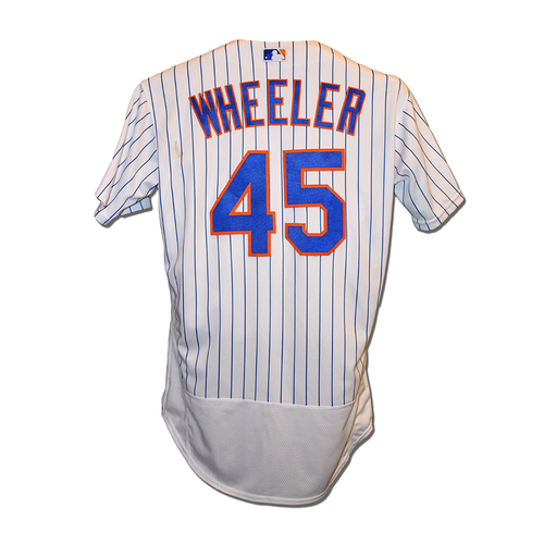 Photo of Zack Wheeler #45 - Game Used White Pinstripe Jersey - 8 IP, 0 ER, 5 K's, Earns 9th Win of 2019 - Mets vs. Marlins - 8/6/2019