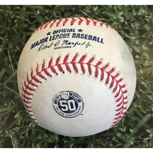 Photo of Game-Used Baseball CIN@MIL 08/08/20 - Brett Anderson - Eugenio Suarez: 3-Run HR (2)