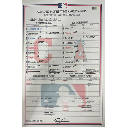Photo of Game Used Line-up Card - 5/17/2021 Cleveland Indians at Los Angeles Angels - Shohei Ohtani hits 13th Home Run of the season