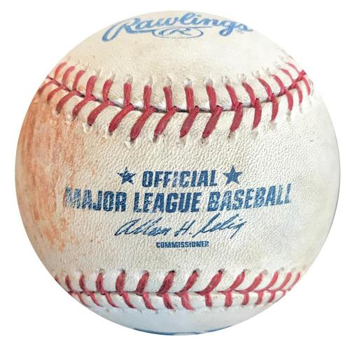 Photo of Game-Used Baseball from Pirates vs. Brewers on 4/19/14 - Russell Martin Single