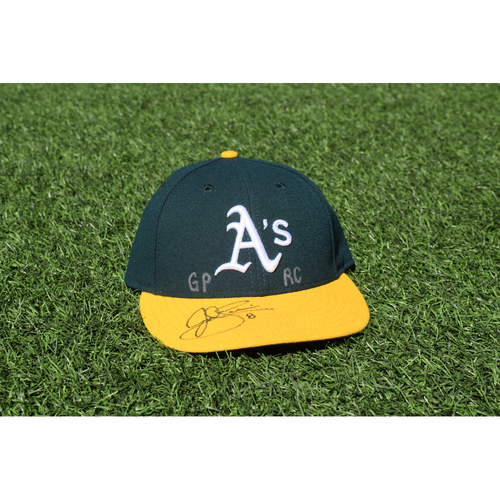 Photo of Oakland Athletics Game Used Autographed Jed Lowrie 50th Anniversary Cap