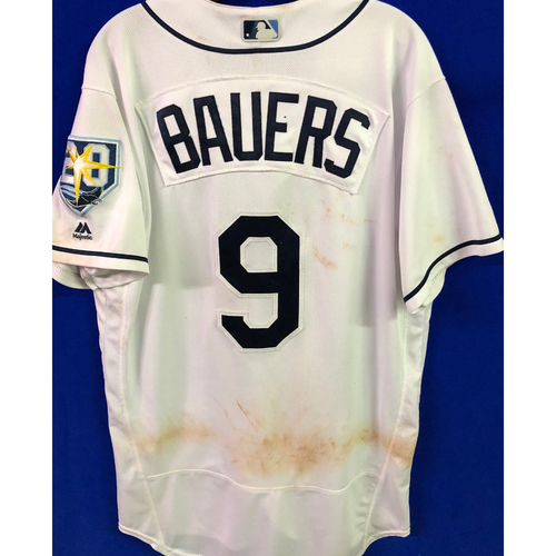 Photo of 20th Anniversary Game Used White Jersey: Jake Bauers (2H, 2R) - August 20-23, 2018 v KC