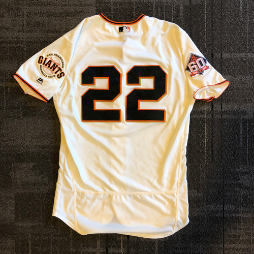 Photo of San Francisco Giants - 2018 Game Used Home Crème Jersey - Andrew McCutchen - Authenticated for his 1500th Career Hit and 2 HOME RUNS! - Size 44
