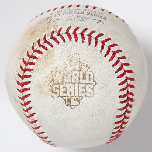 Photo of Game-Used Baseball: 2015 World Series Game 5 - Kansas City Royals at New York Mets - Batter: Michael Conforto, Pitcher: Kelvin Herrera - Bottom of 7, Single