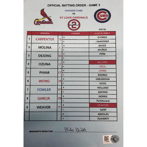 Photo of Official Visitor's Batting Order Card -- Cardinals vs. Cubs -- 7/21/18 -- Signed by Mike Shildt