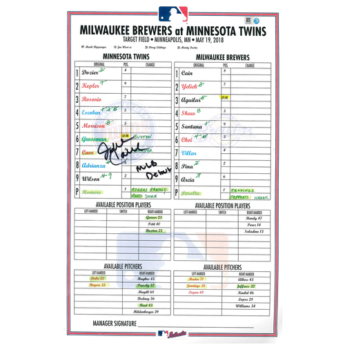 Photo of Minnesota Twins Autographed Replica Debut Lineup Card - Jake Cave