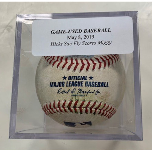 Photo of Game-Used Baseball: John Hicks Sac-Fly Miguel Cabrera Scores