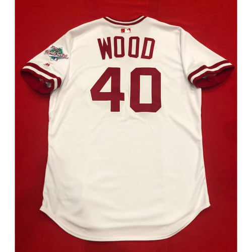 Photo of Alex Wood -- Game-Used 1990 Throwback Jersey & Pants (Starting Pitcher: 5.0 IP, 1 BB, 6 K) -- Cardinals vs. Reds on Aug. 18, 2019 -- Jersey Size 48 / Pants Size 35-42-19