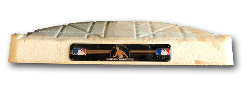 Photo of Game-Used 3rd Base -- Used in Innings 1 through 4 -- Brewers vs. Cubs -- 8/31/19; Also Used in Innings 5 through 10 -- Reds vs. Cubs -- 9/18/19