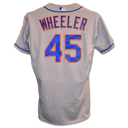 Photo of Zack Wheeler #45 - Game-Used Road Grey Jersey - 5 IP, 3 K's, Earns 10th Win of 2019 - Mets vs. Nationals - 9/4/19