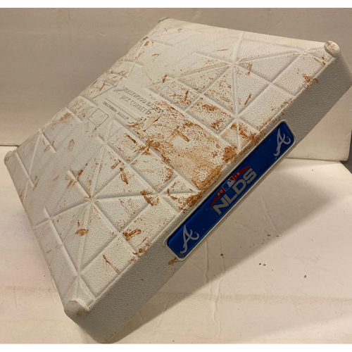 Photo of 2018 NLDS Game Used Base - First Base Used During 8th Inning - 10/8/18 - Dodgers Clinch