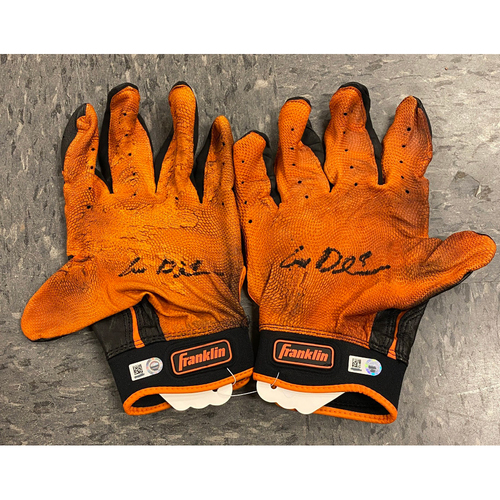 Photo of 2019 Holiday Sale - 2019 Autographed Batting Gloves signed by #8 Alex Dickerson - Black & Orange Franklin Batting Gloves