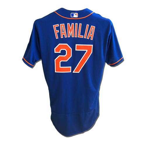 Photo of Jeurys Familia #27 - Game Used Blue Alt. Home Jersey - Familia 1 IP, 1 K, 0 Runs - Mets vs. Braves - 9/27/19