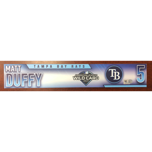 Photo of Game Used Wild Card Locker Tag: Matt Duffy - Starting 3B (1-1, R) - October 2, 2019 at OAK